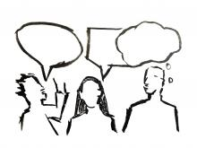 A rough black and white sketch of three people with speech bubbles above their heads